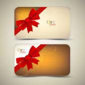 Kırmızı kurdele ile hediye kartları koleksiyonu. vektör arka plan — Stok Vektör