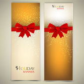 Greeting cards with red bows and copy space. Vector illustration — Stok Vektör