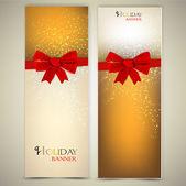 Tarjetas de felicitación con arcos rojos y copia espacio. ilustración vectorial — Vector de stock