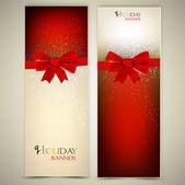 ευχετήριες κάρτες με κόκκινο τόξα και αντίγραφο χώρου. εικονογράφηση φορέας — Διανυσματικό Αρχείο