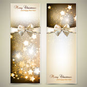 Greeting cards with white bows and copy space. Vector illustrat — Vettoriale Stock