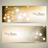 Set of Elegant Christmas banners with stars. Vector illustration — Stok Vektör
