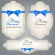 Set of Badges, Labels, Tags with blue bows. Retro vintage styl — Stock Vector