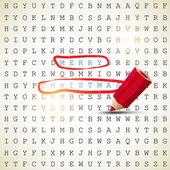 Feliz natal. texto destacado com lápis vermelho. vector backgr — Vetorial Stock