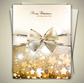 Greeting card with white bow and copy space. Vector illustration — Stockvektor