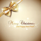 Elegant Christmas background with golden bow. Vector background — ストックベクタ