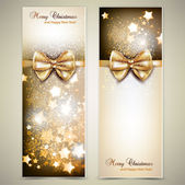 Greeting cards with golden bows and copy space. Vector illustrat — Stock Vector