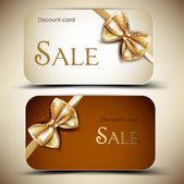 Collectie van gift cards met linten. vector achtergrond — Stockvector