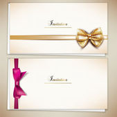 Collection of gift cards and invitations with ribbons. Vector ba — Stock vektor