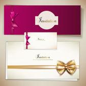 коллекция подарочных карт и приглашения с лентами. вектор ба — Cтоковый вектор