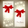 Stok Vektör: Greeting cards with red bows and copy space. Vector illustration