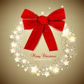 Elegantní vánoční věnec s hvězdami a luk. vektor — Stock vektor