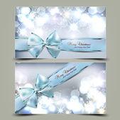 Elegante weihnachtskarten mit blauen bögen und platz für te — Stockvektor