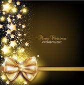 金色蝴蝶结优雅圣诞背景。矢量背景 — 图库矢量图片