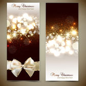 Elegant greeting cards with bows and copy space. Vector illustra — Vector de stock