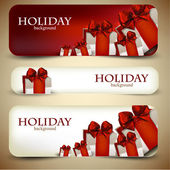 Holiday banners with beautiful gifts. Vector illustration — Stok Vektör