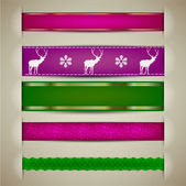 Set of Christmas decorative ribbons, bookmarks, banners. Vector — Stock Vector