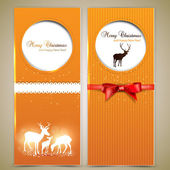 Collection of gift cards and invitations with deers. Vector back — Stock Vector