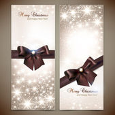 Collection of gift cards and invitations with ribbons. Vector ba — Vettoriale Stock