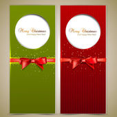Greeting cards with red bows and copy space. Vector illustration — Stock Vector