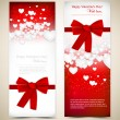 Beautiful greeting cards with white paper hearts and copy space. — Vecteur