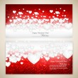 Beautiful greeting cards with white paper hearts and copy space. — Stock Vector #17411631