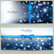 Elegant Christmas greeting cards with blue bows and place for te — Stock Vector
