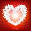 Beautiful background with red heart made from small white pape — Stock Vector
