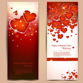 Beautiful greeting cards with red hearts and copy space. Valenti — Stock Vector