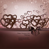 Elegant background with paper hearts and copy space. Vector il — Stock Vector
