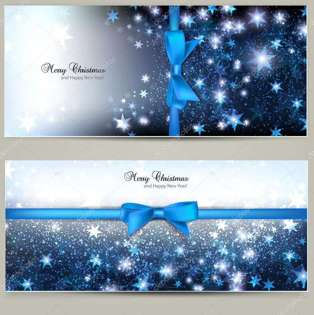 Elegant Christmas greeting cards with blue bows and place for text. Vector Illustration. — Stock Vector #17411633
