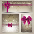 Greeting cards with beautiful bows and copy space. Vector illust - Stock Vector