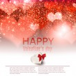 Elegant  red background with hearts and place for text. Valentin — Vettoriali Stock