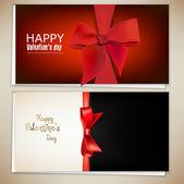 Mooie wenskaarten met rode bogen en kopie ruimte. valentine — Stockvector
