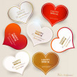 Set of bubbles, stickers, labels, tags. Shape of hearts. Valenti — 图库矢量图片