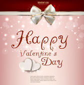 Valentine's day background with bow and hearts. Vector template — ストックベクタ