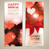 Beautiful greeting cards with red bows and copy space. Valentine — Vetorial Stock