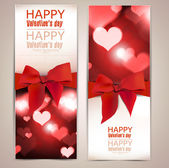 Beautiful greeting cards with red bows and copy space. Valentine — Stock Vector