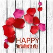 Beautiful colorful rose petals on wooden texture. Happy Valenti — Stock Vector