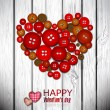 Red heart made from red buttons. Valentine — Vector de stock
