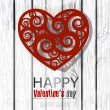 Red handmade heart on wooden background. Valentines day. Vector — Stock vektor