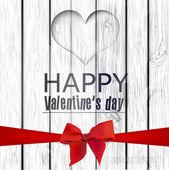Foro vettoriale a forma di cuore sulla struttura in legno. felice san valentino — Vettoriale Stock