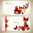 Collection of gift cards and invitations with ribbons — Stock vektor