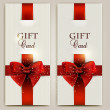 Royalty-Free Stock 矢量图片: Gorgeous gift cards with red bows and copy space. Vector illustr