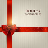 Elegant holiday background with red bow and space for text. Vect — Stock Vector