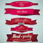 Set of Superior Quality and Satisfaction Guarantee Ribbons, Labe — Stock Vector