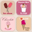 Set of vintage ice cream shop badges and labels — Vector de stock #23012774