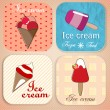 Set of vintage ice cream shop badges and labels — Vector de stock #23012802