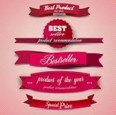 Bestseller. uppsättning röda överlägsen kvalitet och tillfredsställelse guarant — Stockvektor