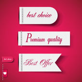 Set of Red Superior Quality and Satisfaction Guarantee Ribbons, — Stock Vector